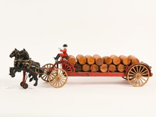 HORSE DRAWN CAST IRON WAGON   WOODEN BARRElS