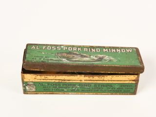 Al FOSS PORK RIND MINNOW TIN BOX   FISH HOOKS