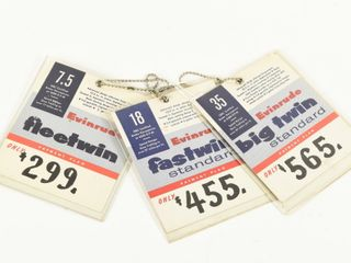 lOT OF 3 VINTAGE DEAlER OUTBOARD MOTOR PRICE TAGS