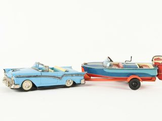TIN lITHO 1957 FORD   BOAT  TRAIlER