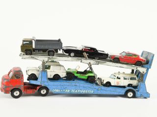 CORGI CAR TRANSPORTER   6 ASSORTED VEHIClES