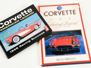 lOT 2 CHEVY CORVETTE HARD COVER BOOKS  DUST COVER