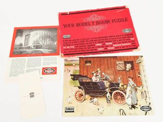 RARE MODEl T JIGSAW PUZZlE   DOCUMENT  PACKAGING