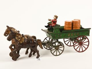 KENTON CAST IRON HORSE DRAWN BEER WAGON