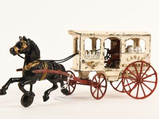 HORSE DRAWN CAST IRON MIlK WAGON