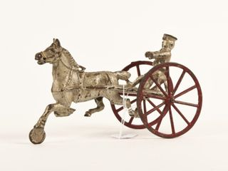VINTAGE CAST IRON HORSE DRAWN WAGON