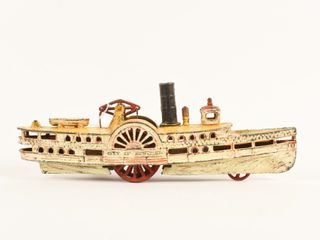 RARE CITY OF NEW YORK CAST IRON PADDlE BOAT