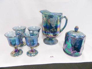Carnival Glass Pitcher w Goblets