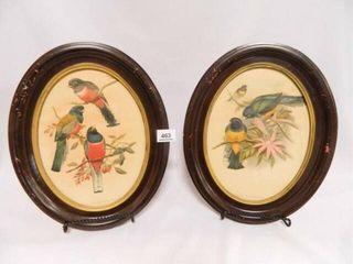 Vintage Oval Bird Prints