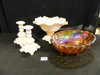 Carnival Glass Oblong Bowl