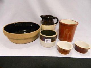 Stoneware Bowl  Crocks  Pitcher