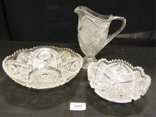 Patterned Glass Pitcher   Bowls