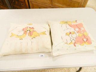 Vintage Pillows  Appliqued   2