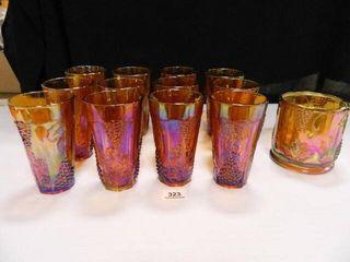 Carnival Glass Drinking Glasses 12