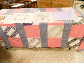 Quilt Top  Tablecloth w Embroidery