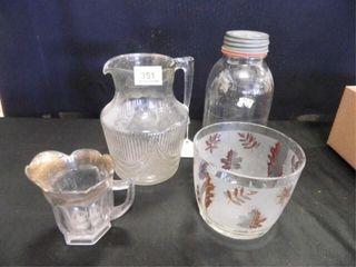 Glass Pitcher  Creamer  Bowl