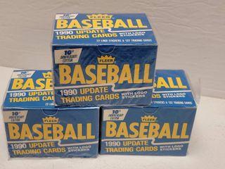 1990 Fleer Update Baseball Complete 132 Card Set lot of 3