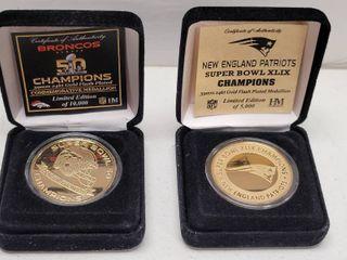 Denver Broncos   New England Patriots Super Bowl Champions Highland Mint Medallion Coins