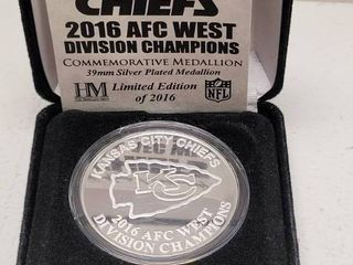 2016 Kansas City Chiefs AFC West Champions Highland Mint Medallion Coin