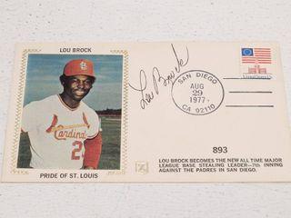 lou Brock Autographed Silk Photo Cachet Envelope w  COA