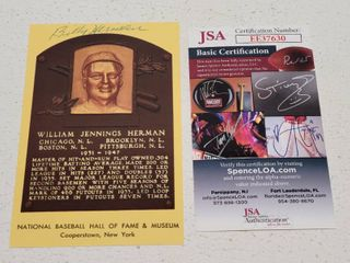 Billy Herman Autographed Hall of Fame Postcard w  COA