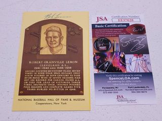 Bob lemon Autographed Hall of Fame Postcard w  COA