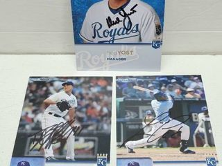 Ned Yost  lorenzo Cain   Danny Duffy Autographed 5  x 7  KC Royals Cards