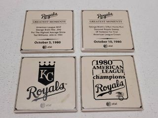 1980 Kansas City Royals American league Champions 4 Piece Coaster Set