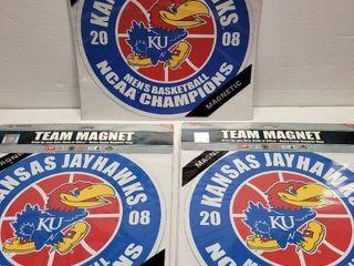 2008 Kansas Jayhawks National Champions Jumbo Magnet lot of 3