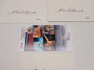 Edd Roush Autographed 3x5 Cards New York Baseball Giants HOF lot of 3 w  COA