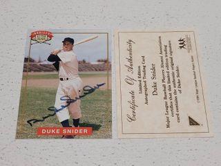 Duke Snider Autographed Nabisco legends Brooklyn Dodgers Baseball Card w  COA
