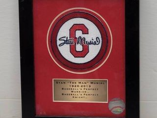 Stan Musial St  louis Cardinals Commemorative Patch Framed