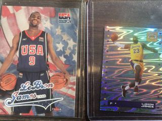 2003 Ultra leBron James Rookie Card USA Basketball   2019 los Angeles lakers Sticker