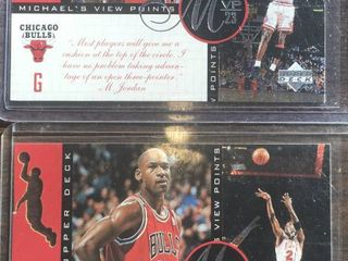 Two Michael Jordan Viewpoints Inserts and Hanes Fleer Throwback Basketball Cards Chicago Bulls   3 Cards total