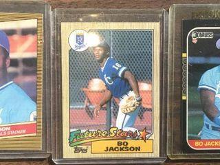Three Bo Jackson Baseball Rookie Cards   1987 Donruss  1987 Topps  and 1986 Donruss Highlights