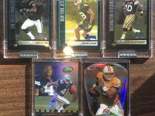 Five Encased Football Trading Cards   2002 Bowman and E Topps