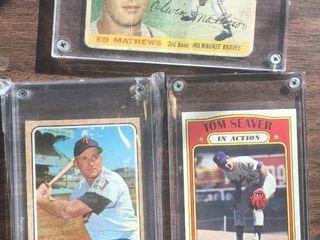 Three Vintage Baseball Cards   1955 Topps Eddie Mathews  1968 Topps Harmon Killebrew  1972 Topps Tom Seaver In Action   Poor to Fair shape