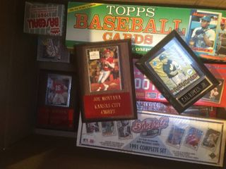 Box of Trading Cards   Complete Factory Sets  Wooden Plaques  Thousands of Cards