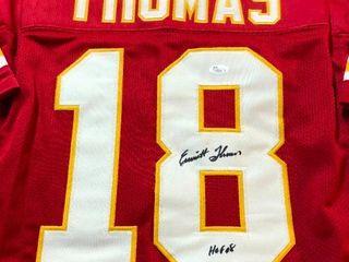 Signed Emmitt Thomas Kansas City Chiefs  18 Custom Jersey James Spence Witnessed Authentication with  HOF 08  Inscription