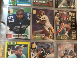 Full Binder Full of Football Trading Cards