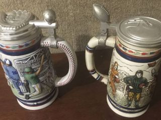 Two Beer Steins   One Baseball   One Football   Both for one money