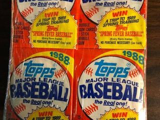 Box of 1988 Topps Baseball Trading Cards   Not factory sealed  but 36 Packs