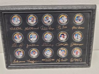 Golden Baseball All Time legends 24kt Gold Plated Colorized State Quarters Set w  COA