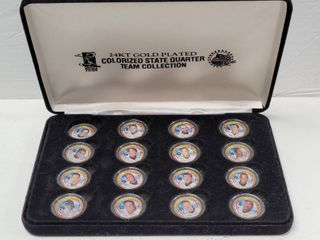 New York Yankees Team 24kt Gold Plated Colorized State Quarters Set