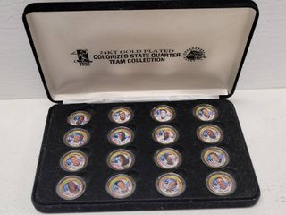 New York Mets Team 24kt Gold Plated Colorized State Quarters Set