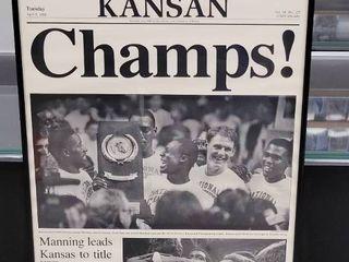 1988 Kansas Jayhawks National Champions Newspaper Print Framed