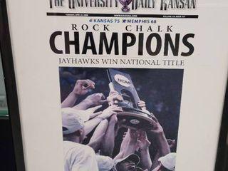 2008 Kansas Jayhawks National Champions Newspaper Print Framed