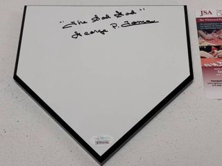 George P  Toma Autographed Wooden Home Plate Display w  COA