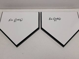 Don Denkinger Autographed Wooden Home Plate Display lot of 2