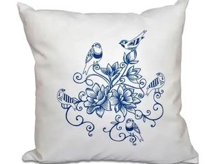 Blue  Five little Birds Floral Print 20 inch Throw Pillow  needs washed
